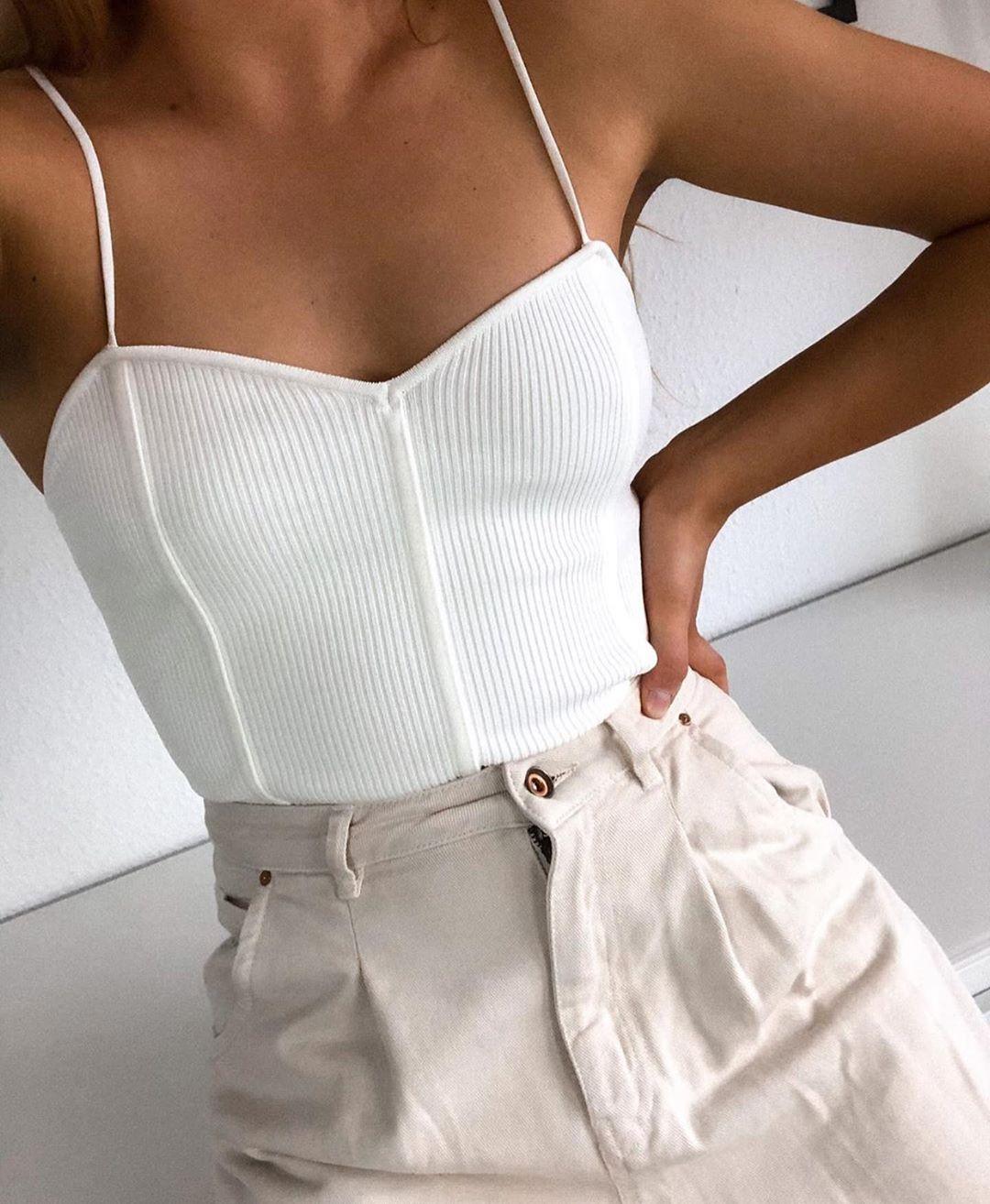 knit bodysuit with straps de Zara sur zaraaddiction