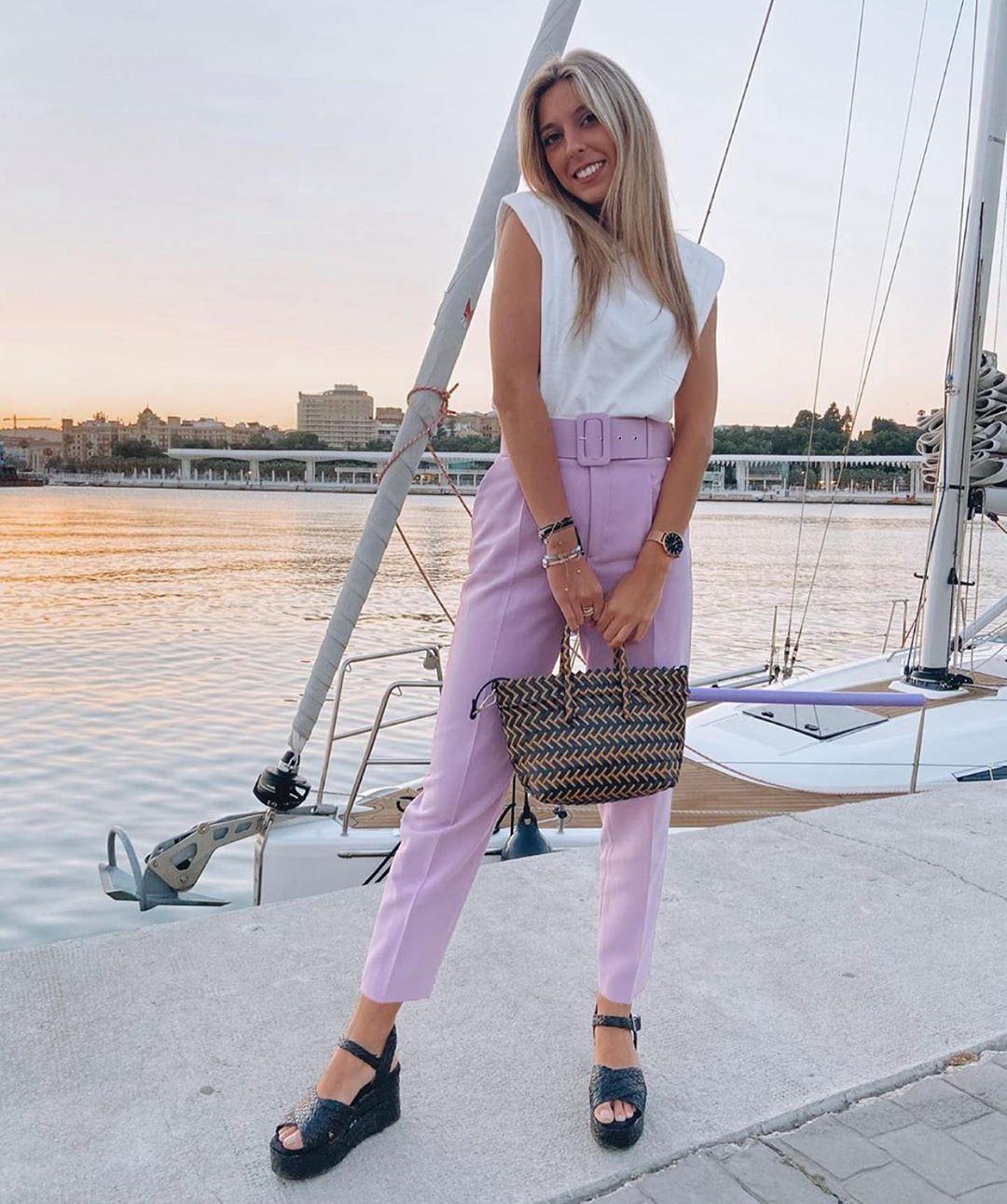 high waist pants with belt de Zara sur zaraaddiction
