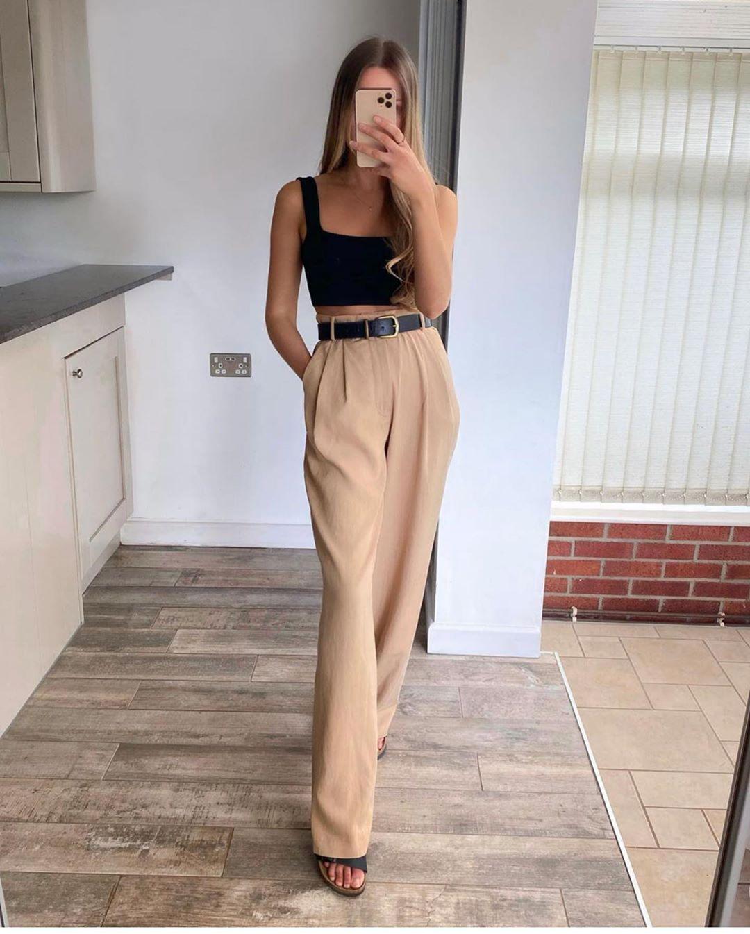 pantalon large de Zara sur zara.outfits