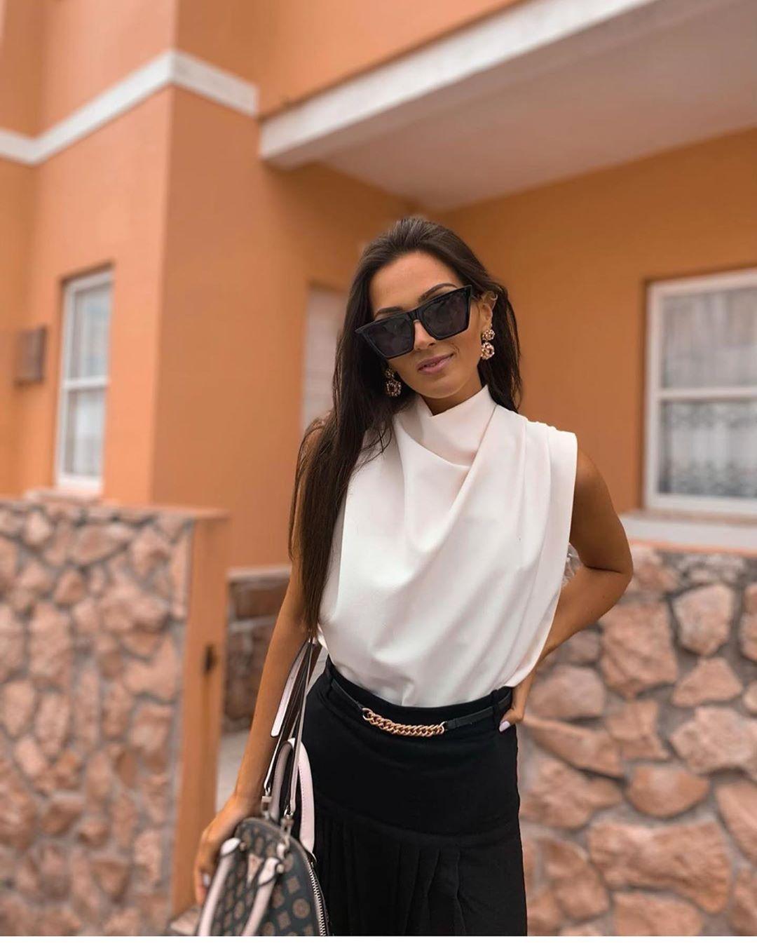 chemise à col montant de Zara sur zara.outfits