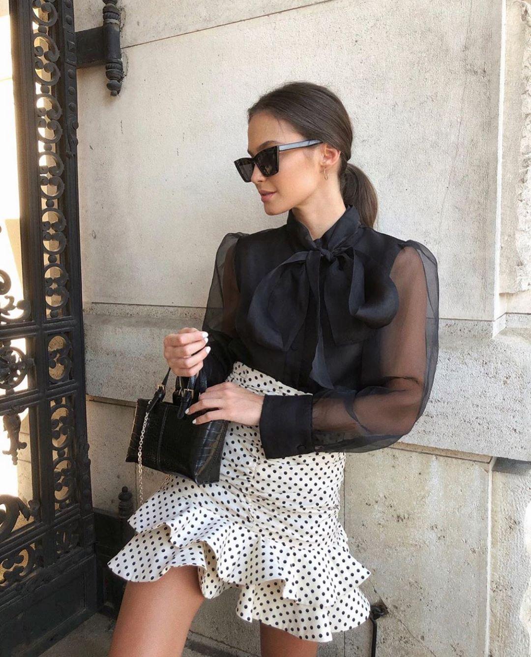 polka dot mini skirt de Zara sur zarastreetstyle