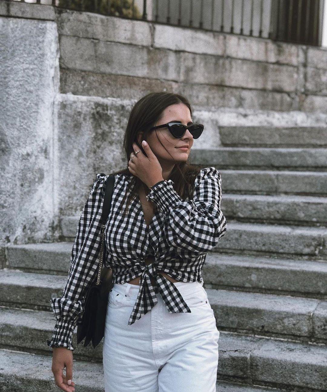 blouse à carreaux vichy de Zara sur zara.outfits