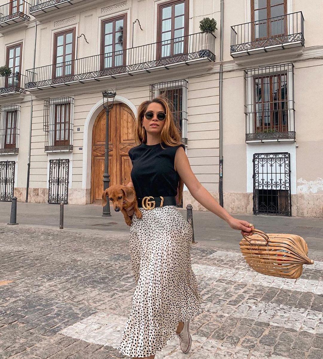 pleated skirt with belt de Zara sur zaraaddiction