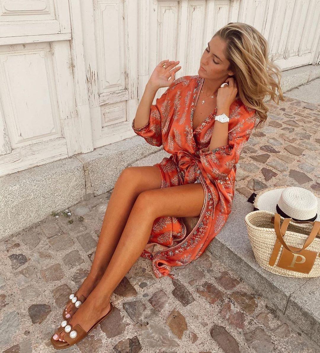 sandales plates en cuir à perles de Zara sur zara.outfits