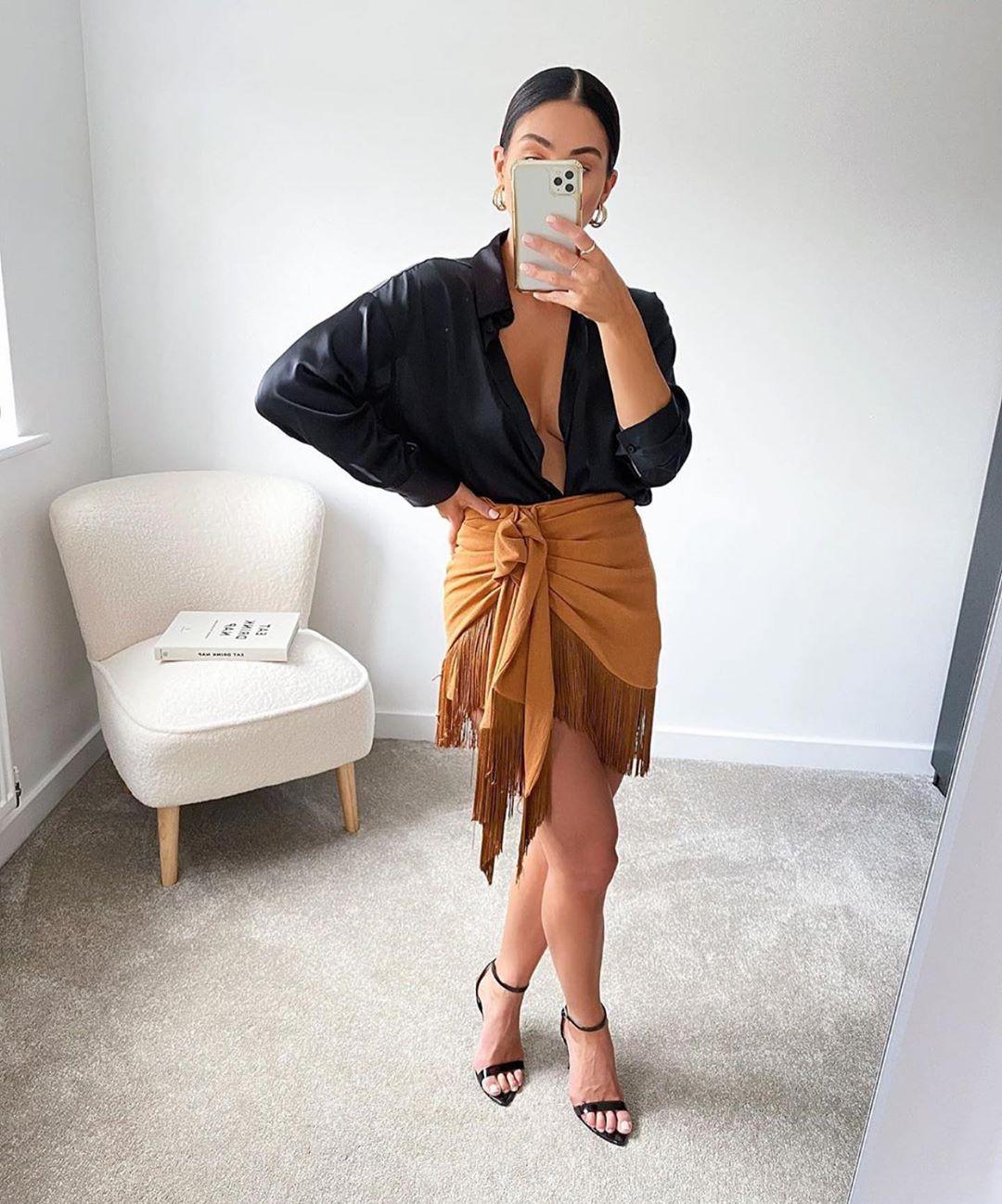 mini jupe à franges de Zara sur zara.outfits