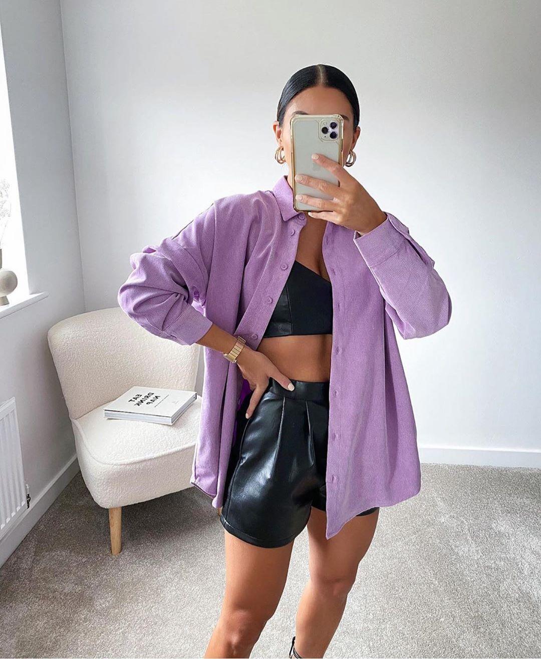 chemise oversize en velours côtelé de Zara sur zara.outfits