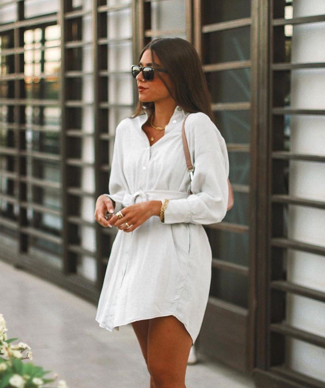 robe-chemise avec ceinture de Zara sur zara.outfits