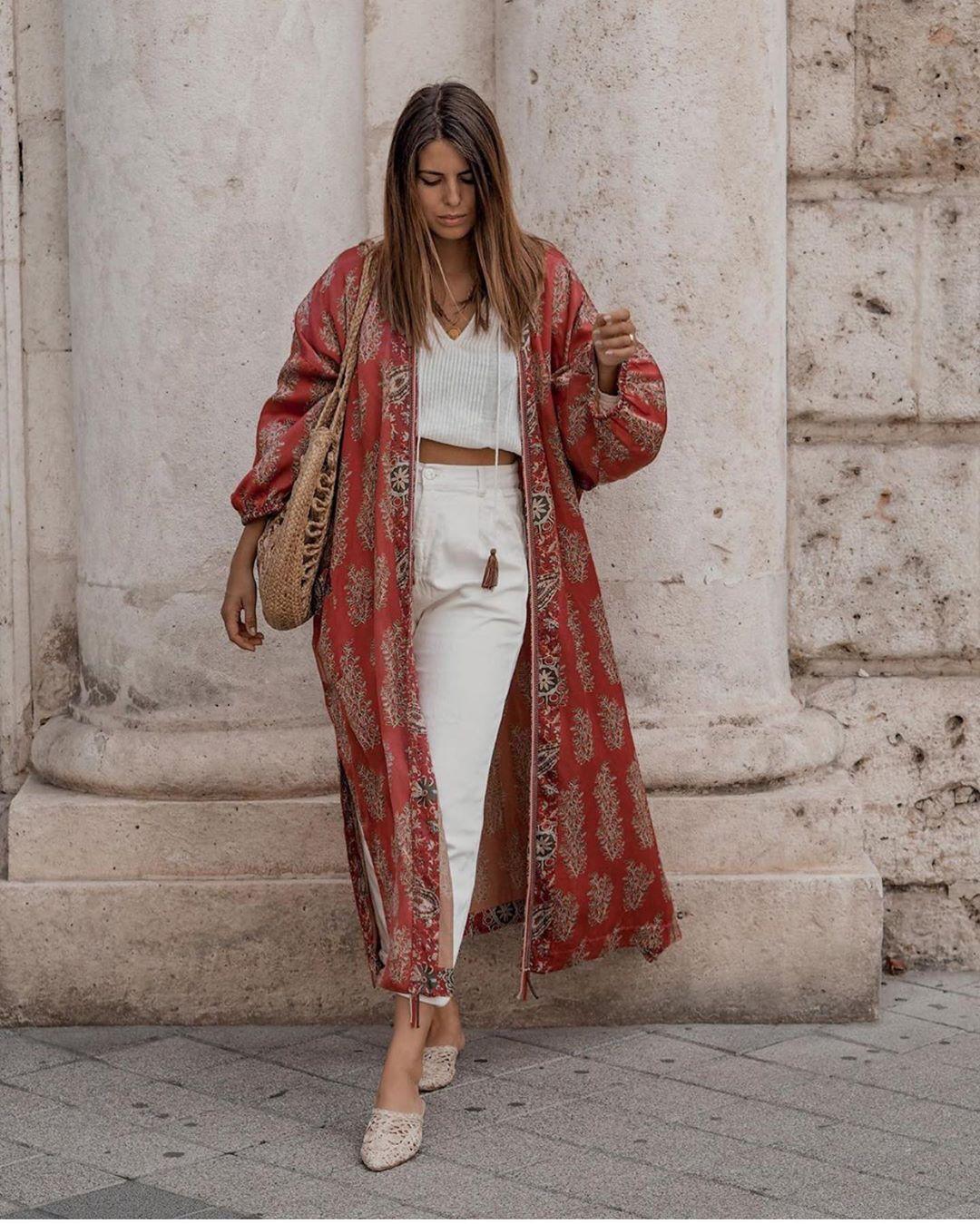 kimono imprimé de Zara sur zara.outfits