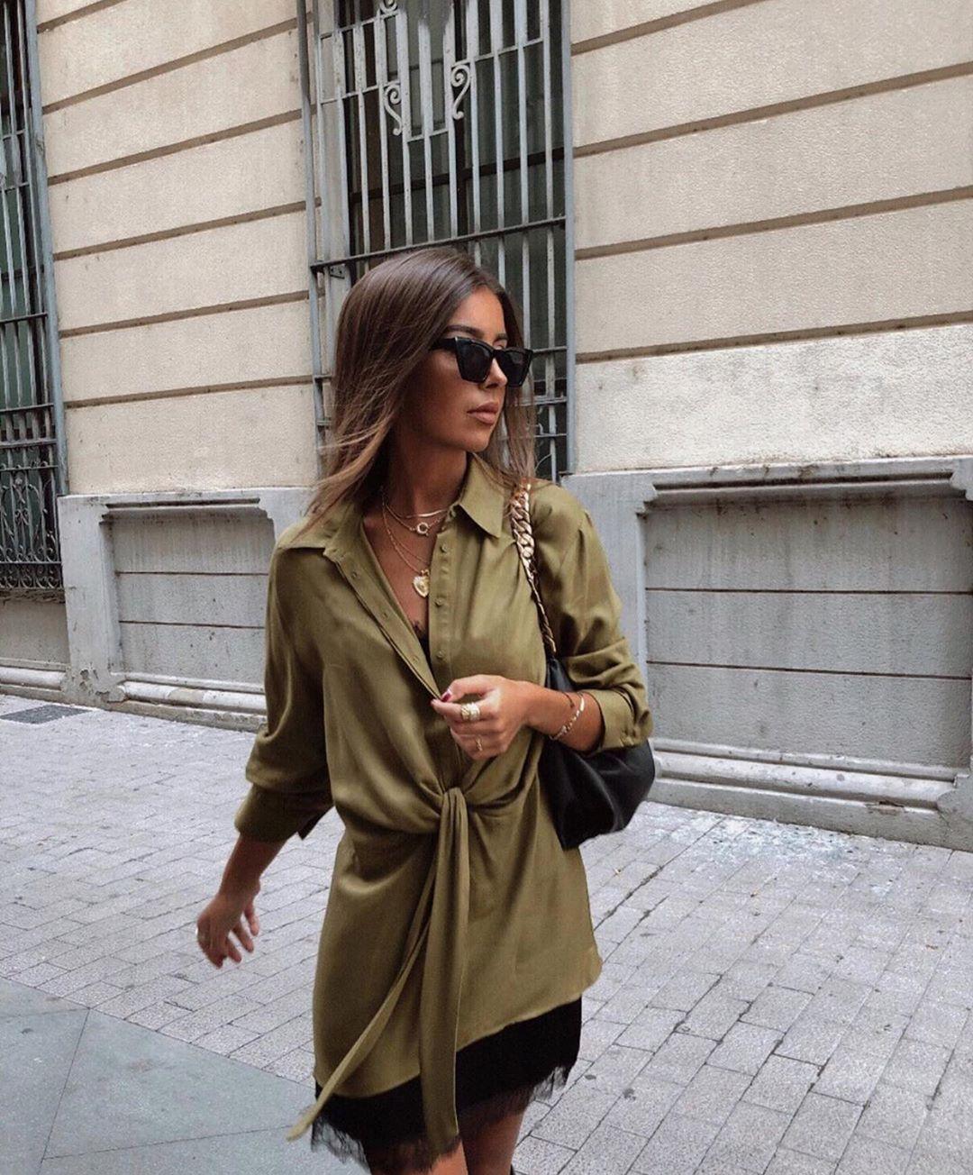 robe chemise satinée de Zara sur zara.outfits