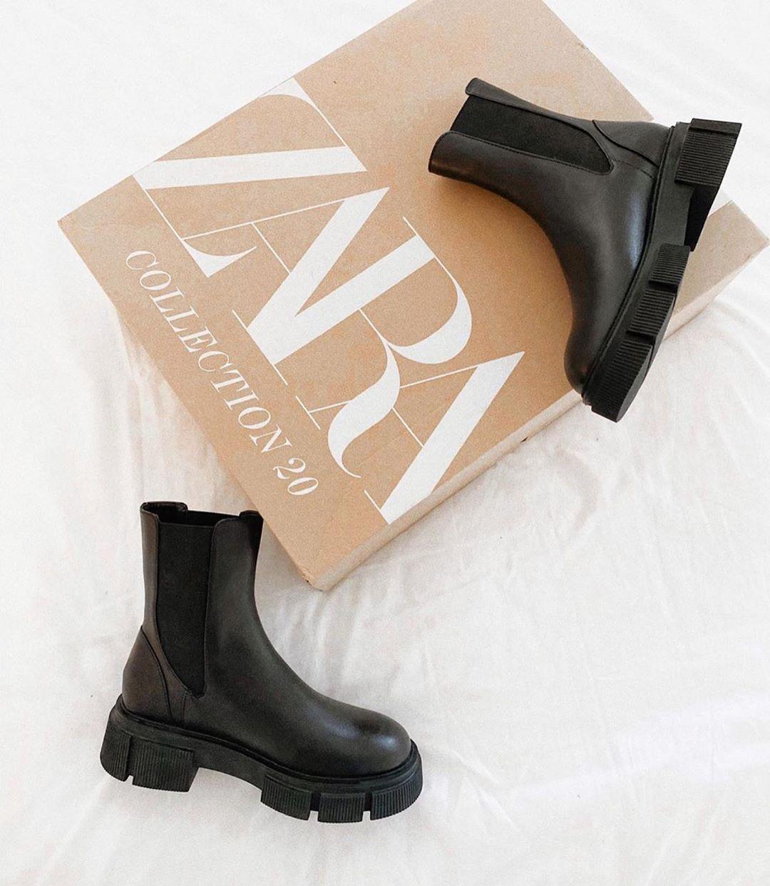 track leather flat ankle boots de Zara sur zaraaddiction