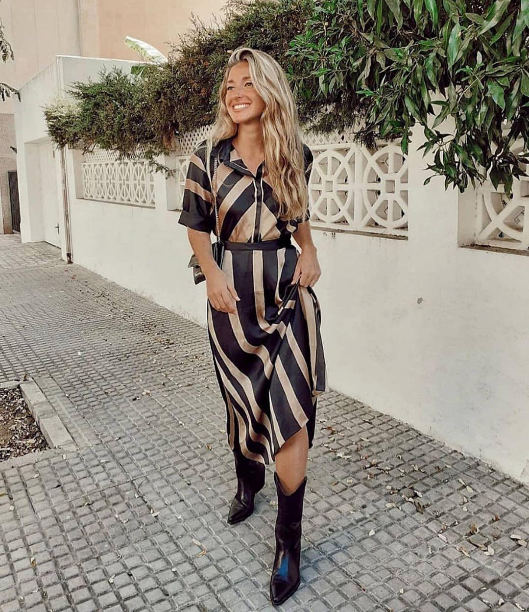 robe satinée à rayures de Zara sur zara.outfits