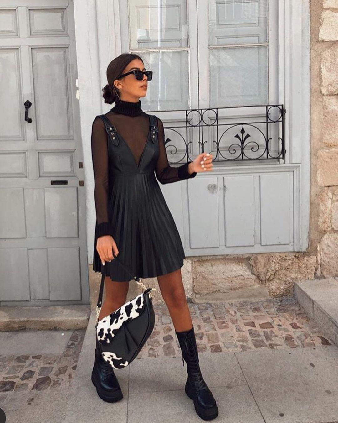 synthetic leather jumpsuit dress style skirt de Zara sur zara_hm_look_style