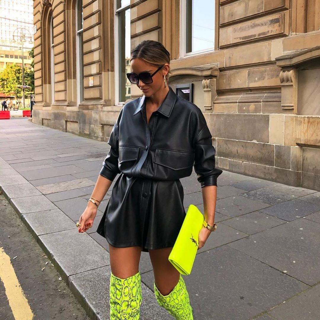 long synthetic leather overshirt de Zara sur zarastreetstyle