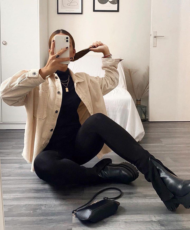 surchemise en velours côtelé de Zara sur zara.outfits