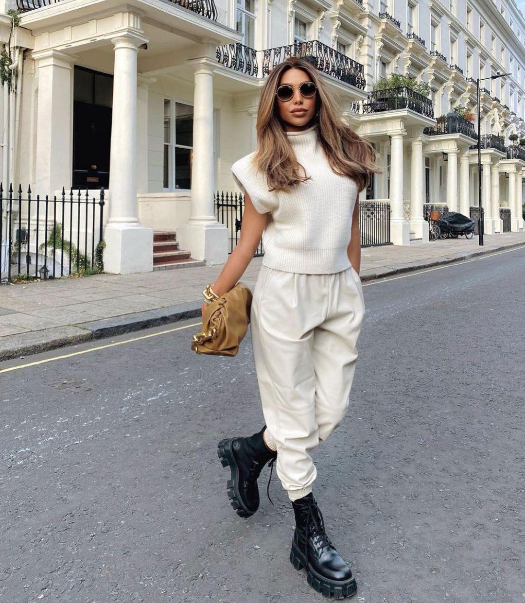 synthetic leather jogging pants de Zara sur zarastreetstyle