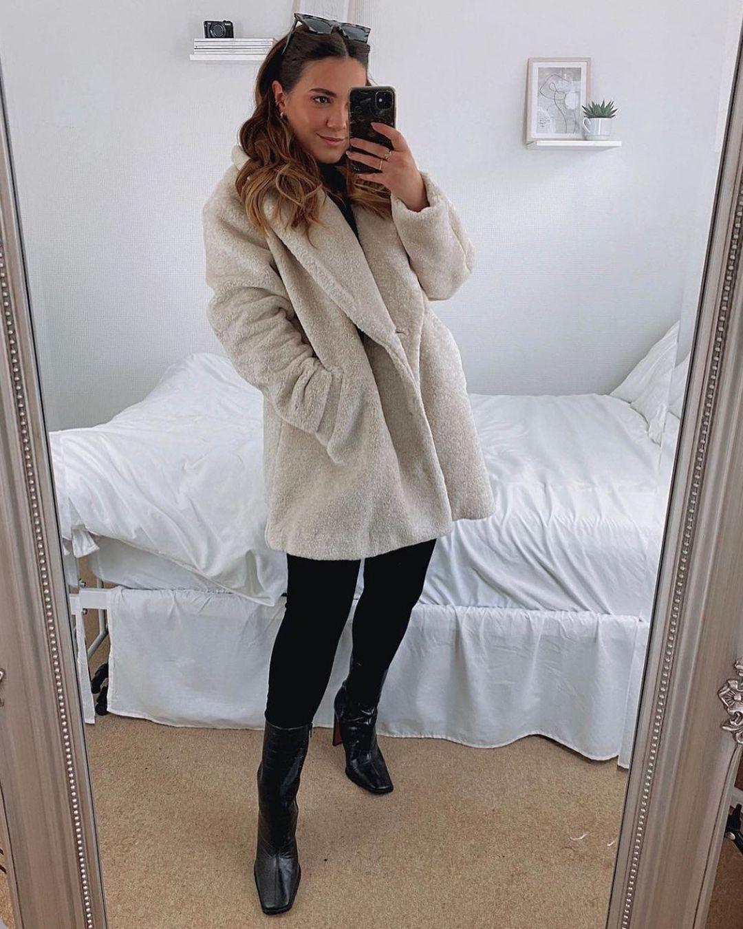 manteau court en peluche de H&M sur hm.addicted