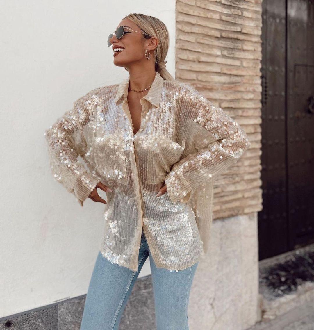 chemise oversize à paillettes de Zara sur zara.outfits