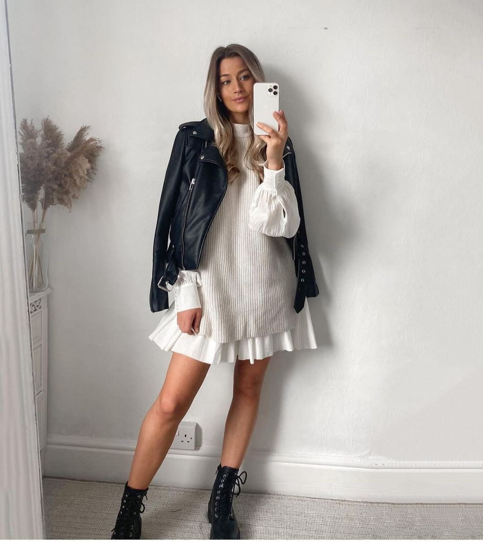 veste de motard en cuir synthétique de Zara sur zara.outfits
