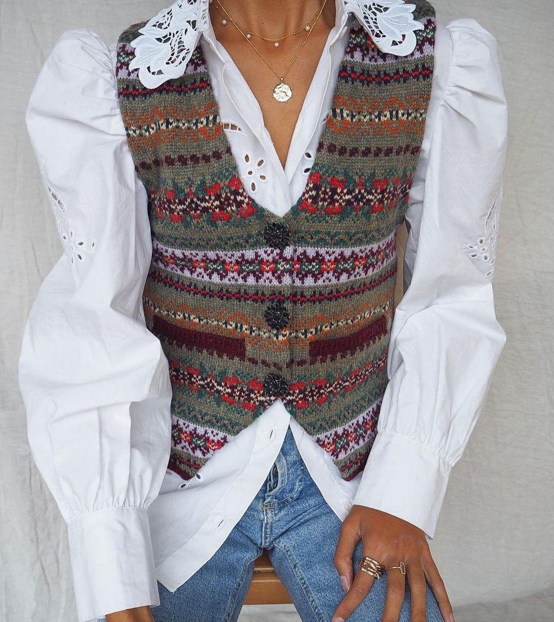 jacquard knit sleeveless vest de Zara sur zaraaddiction