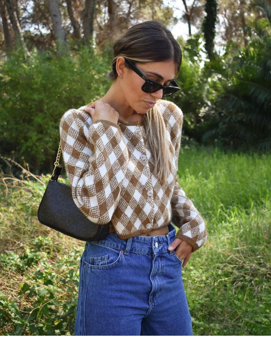 gilet en maille à losanges de Zara sur zara.outfits
