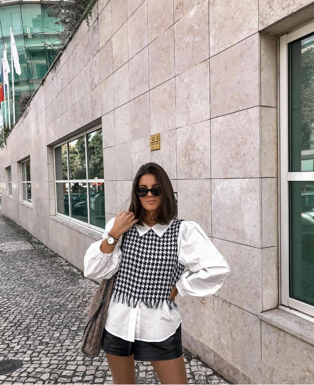 blouse avec tweed de Zara sur zara.outfits