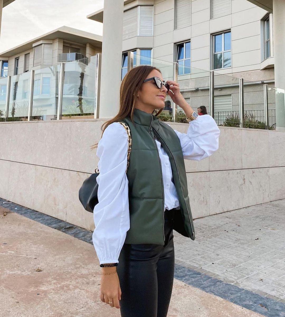 doudoune sans manches matelassée effet cuir de Zara sur zara.outfits