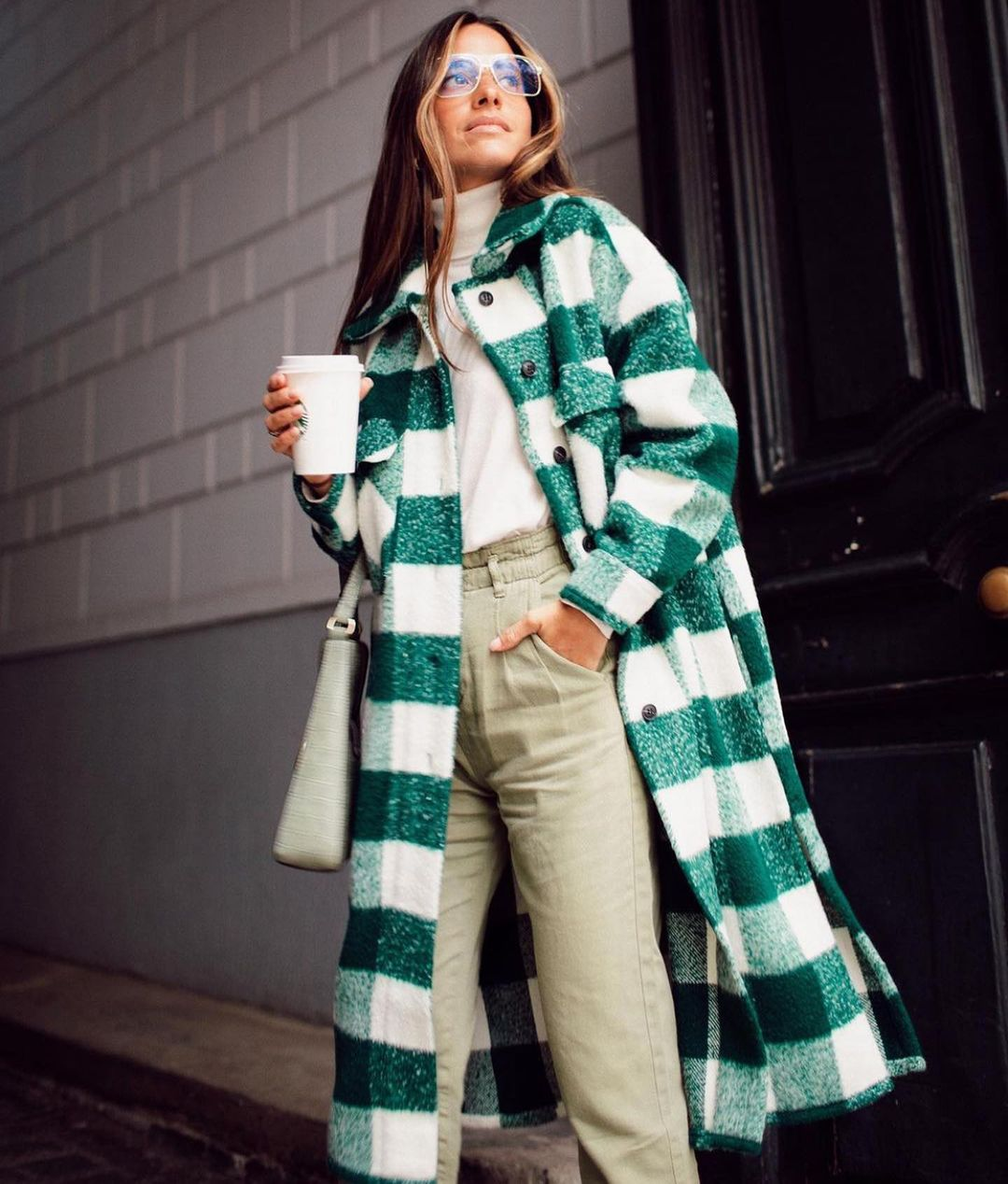 manteau à carreaux avec laine de Zara sur zara.mania
