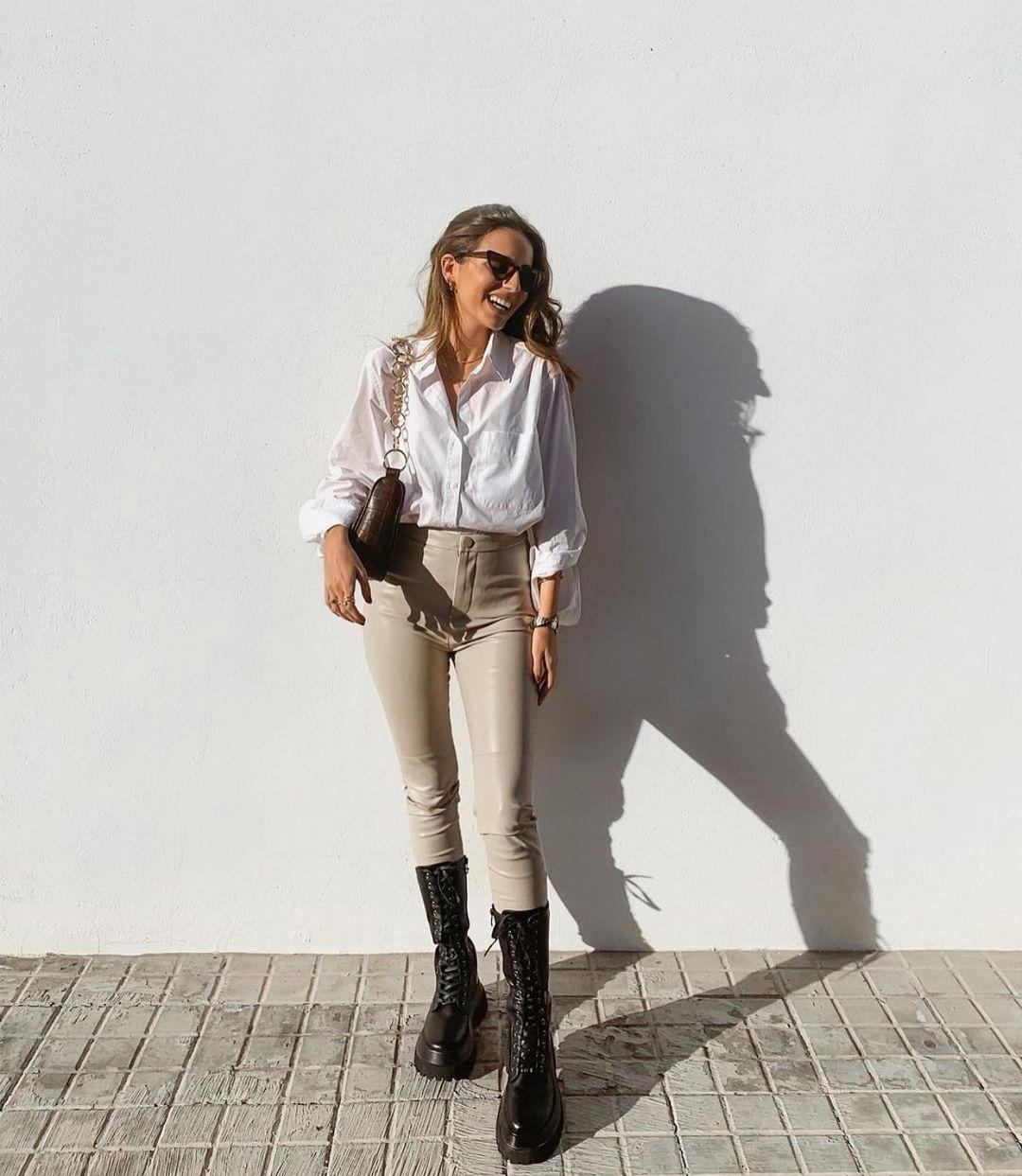 leather flat boots with track sole de Zara sur zaraaddiction