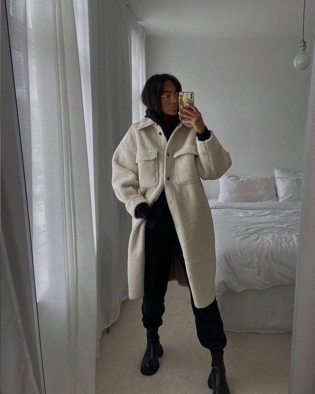 surchemise longue en peluche de H&M sur hm.addicted