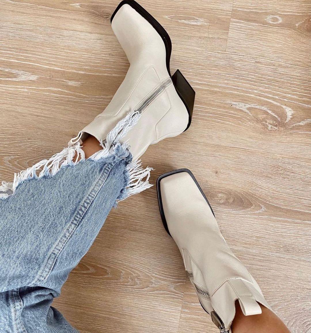 square toe leather heel ankle boots de Zara sur zaraaddiction