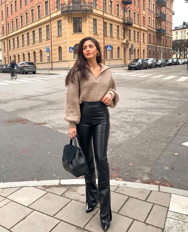 leggings leather effect extra long de Zara sur zarastreetstyle