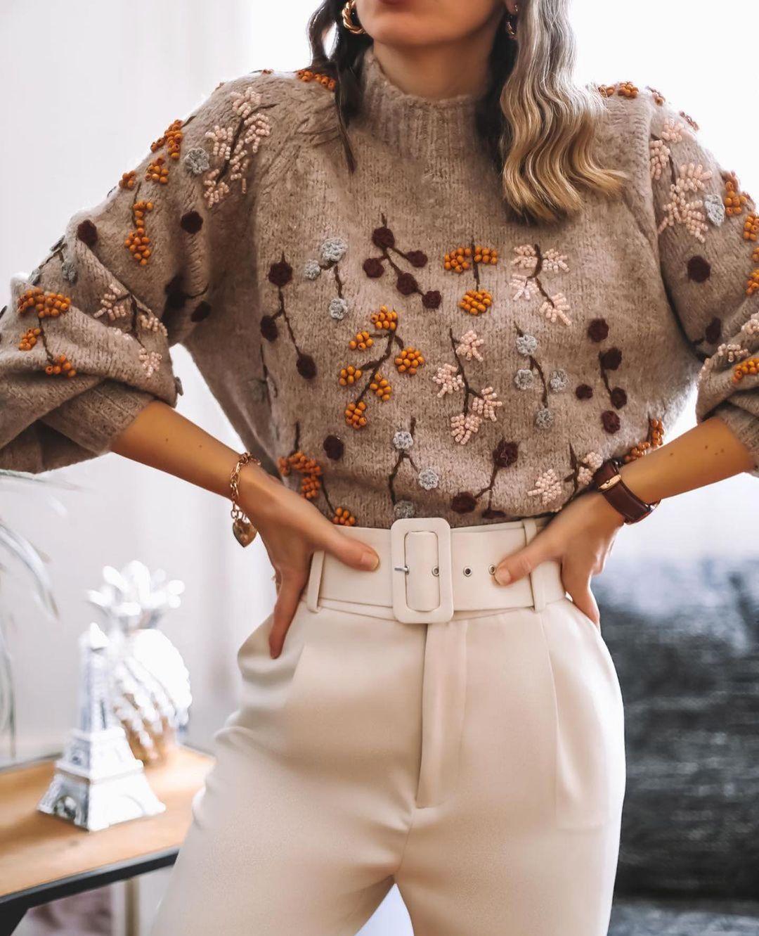 pull en maille avec verroteries special edition de Zara sur zara.outfits