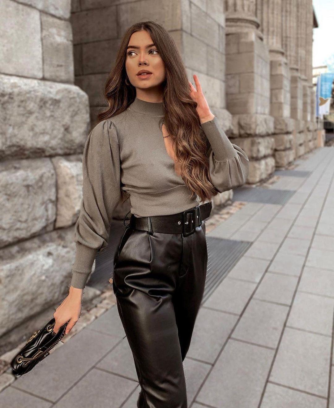 pantalon en cuir synthétique avec ceinture de Zara sur zara.outfits