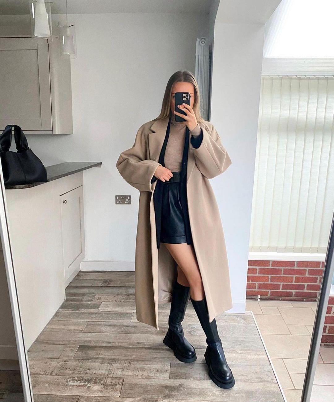 manteau avec col à revers de Zara sur zara.outfits