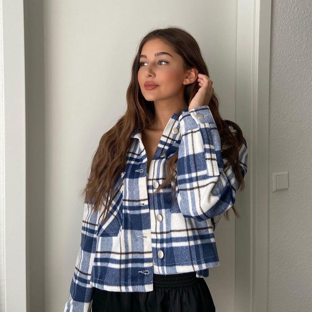 surchemise courte à carreaux de Zara sur zara.outfits