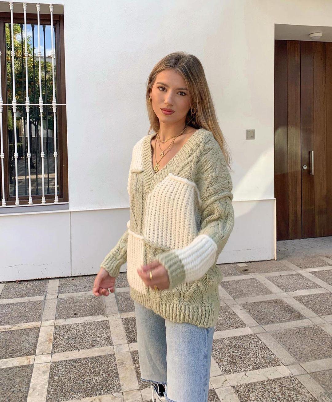 pull en maille patchwork de Zara sur zara.outfits