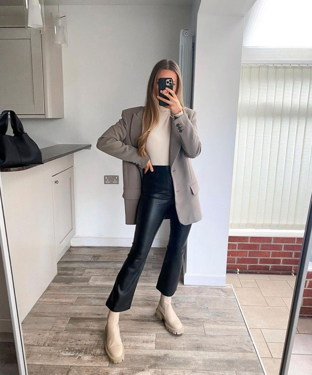 legging évasé effet cuir de Zara sur zara.outfits