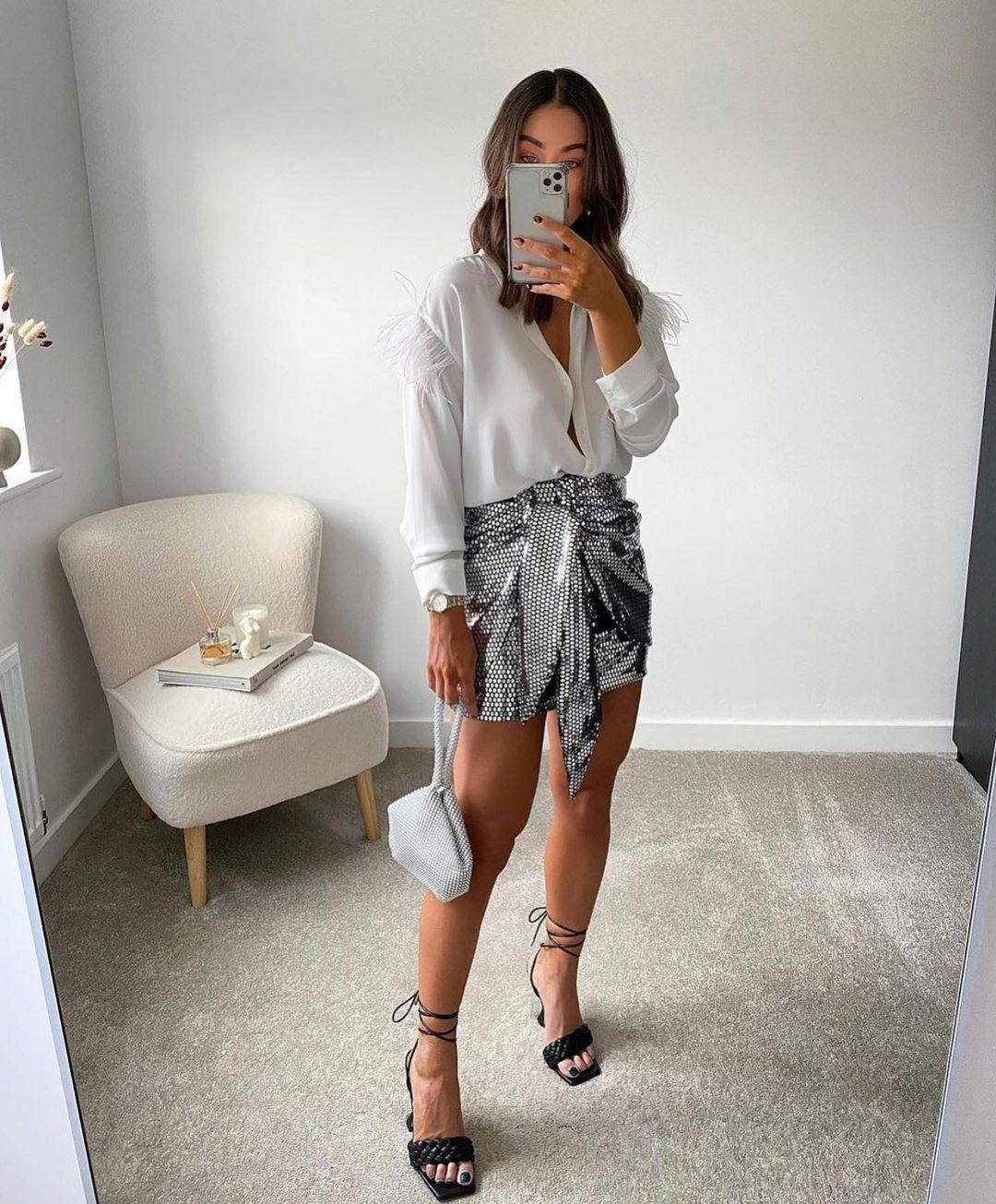 jupe brillante à noeud de Zara sur zara.outfits