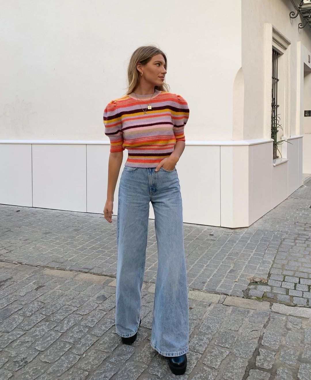 pull en maille à rayures de Zara sur zara.outfits