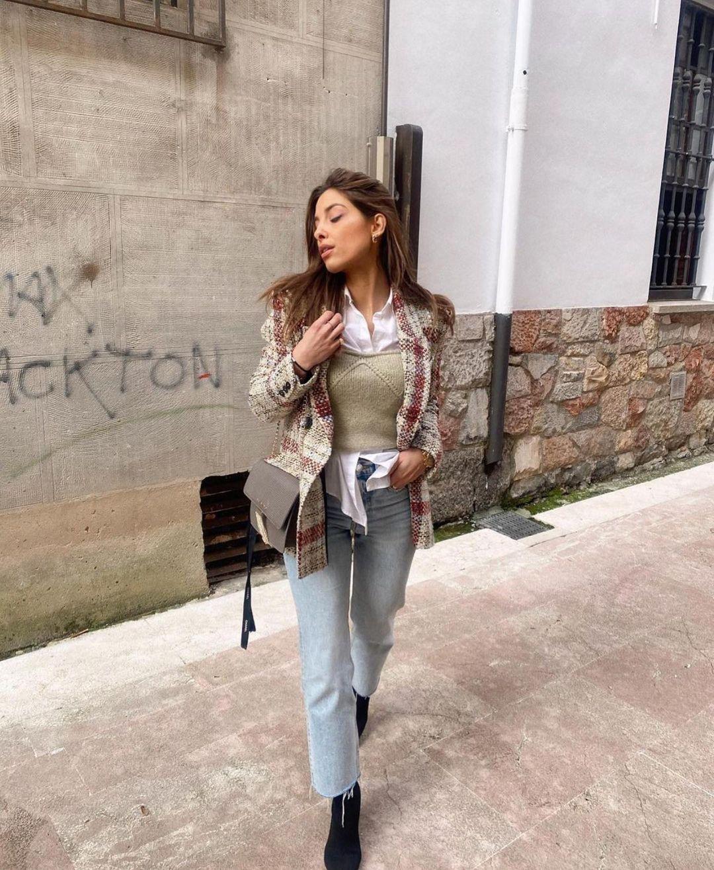 blazer structuré à carreaux de Zara sur zara.outfits
