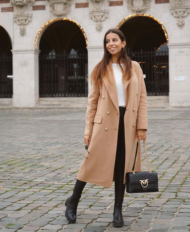 manteau avec laine à boutons de Zara sur zara.outfits