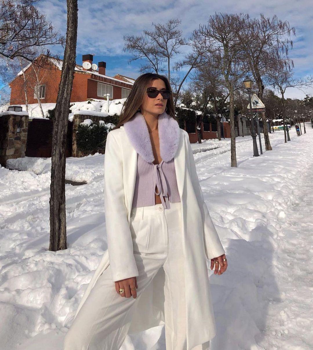 faux fur bi-material knit jacket de Zara sur zaraaddiction