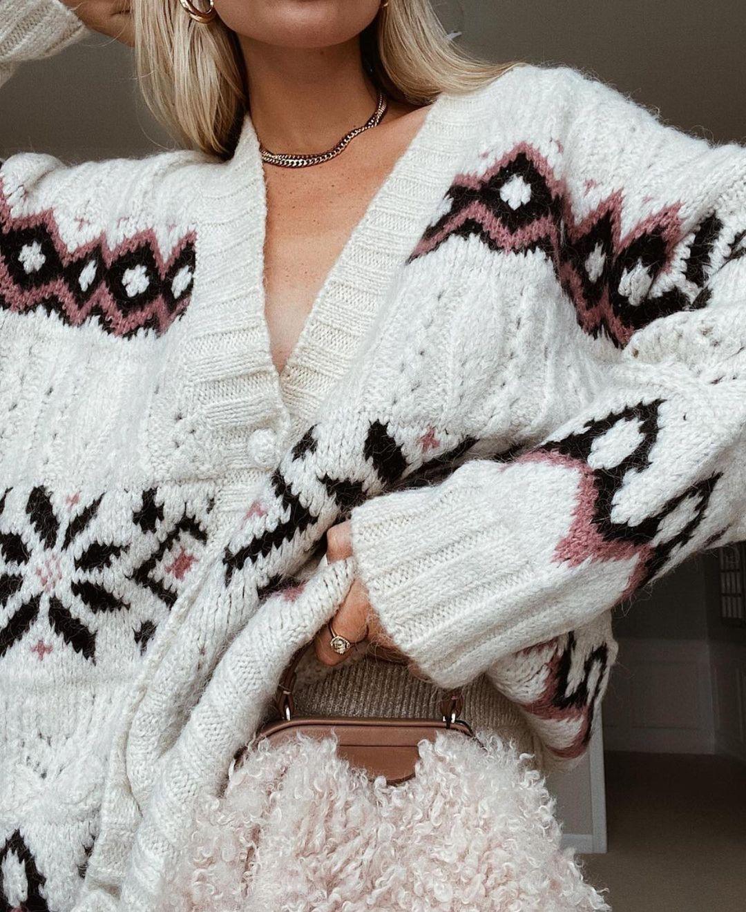 jacquard knit cardigan de Zara sur zaraaddiction