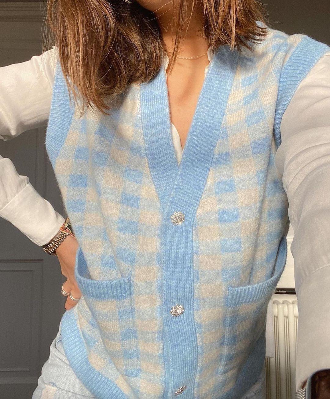 gilet en maille à carreaux de Zara sur zara.outfits