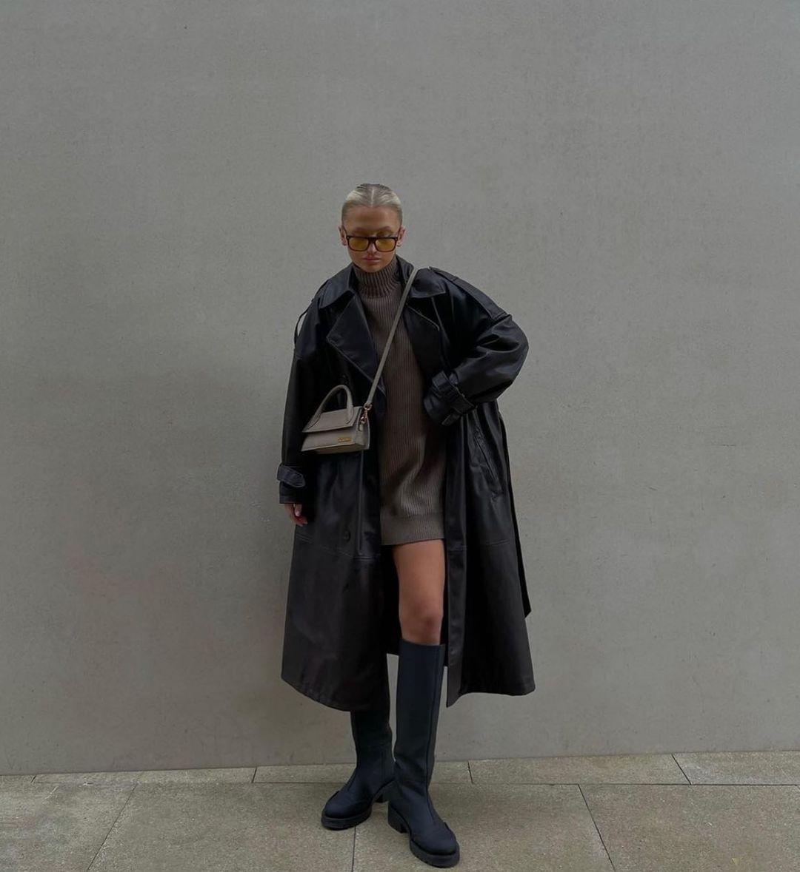 cross breasted imitation leather trench coat de Zara sur zara.style.daily