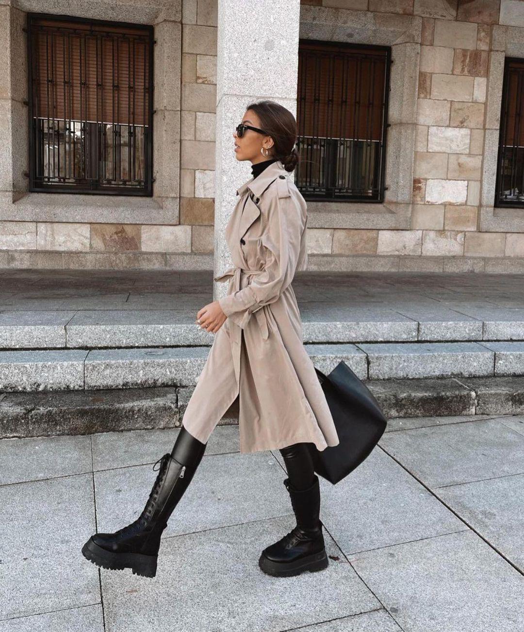 boots plates en cuir à semelle track de Zara sur zara.outfits