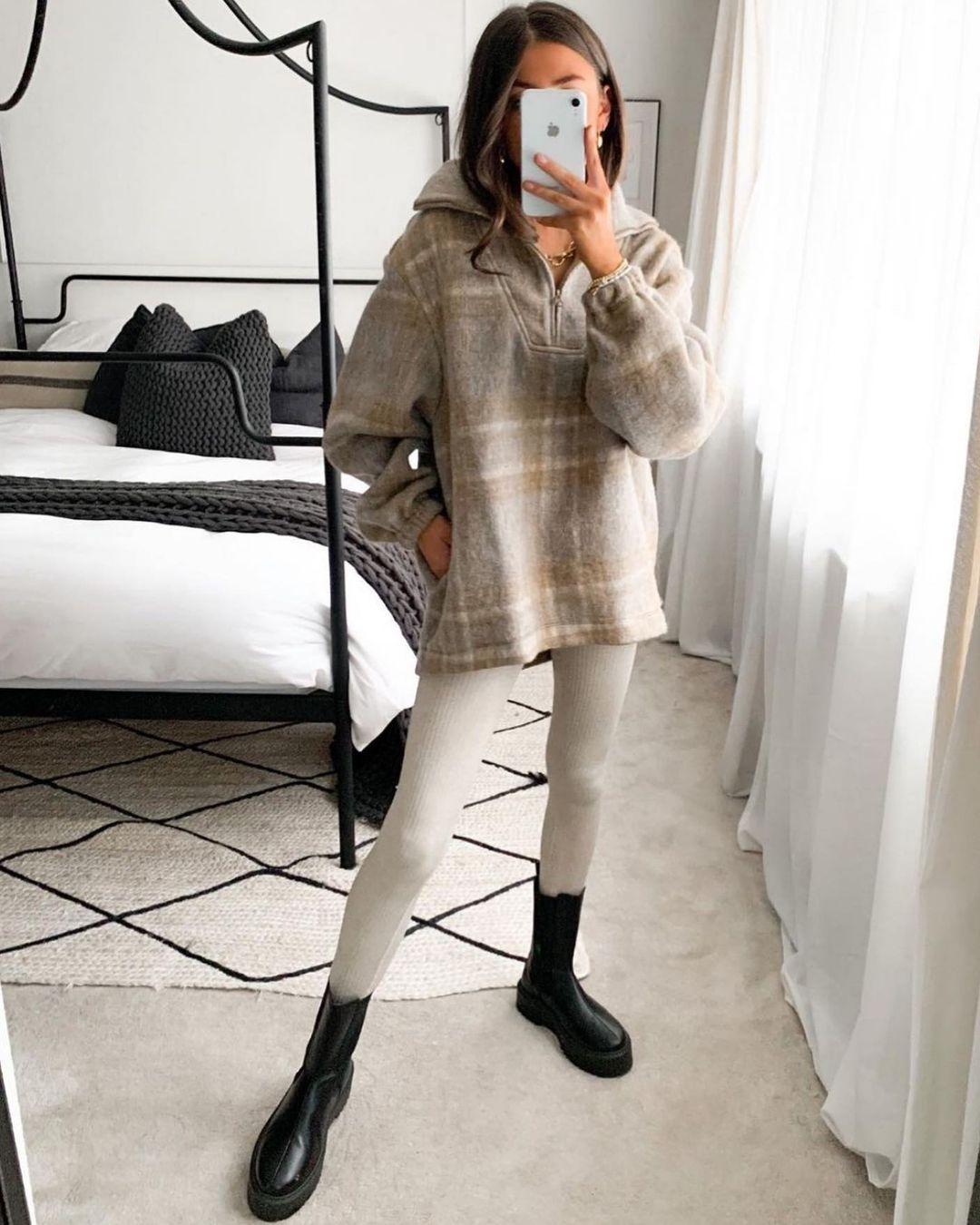 sweatshirt with plaid wool de Zara sur zara.style.daily