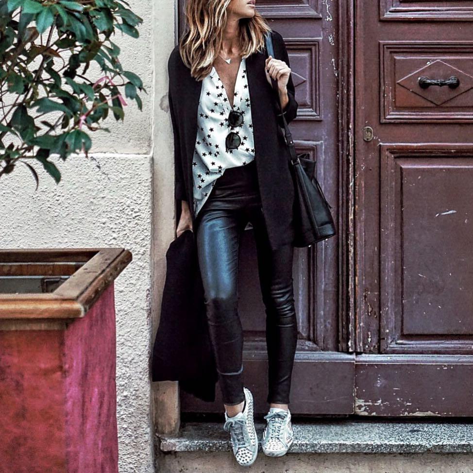 pantalon noir enduit de Les Bourgeoises sur looknatamelie