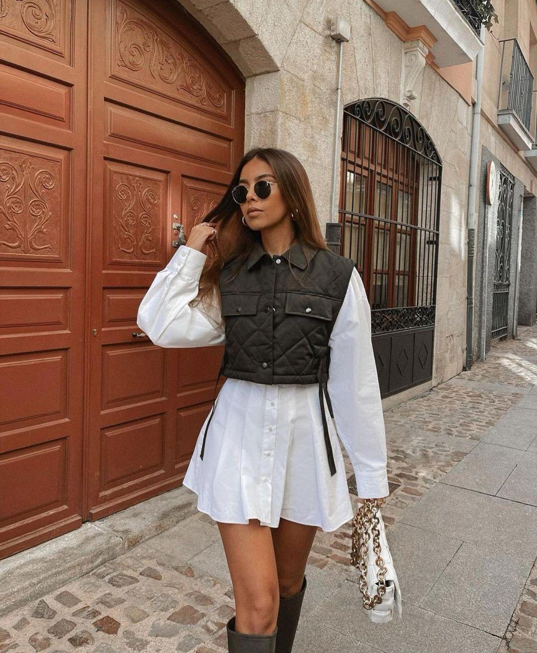 gilet cropped rembourré de Zara sur zara.outfits