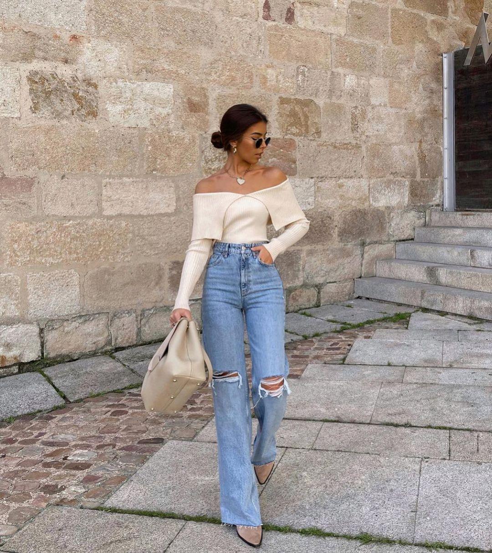 relaxed full length jeans with tears de Zara sur zarastreetstyle